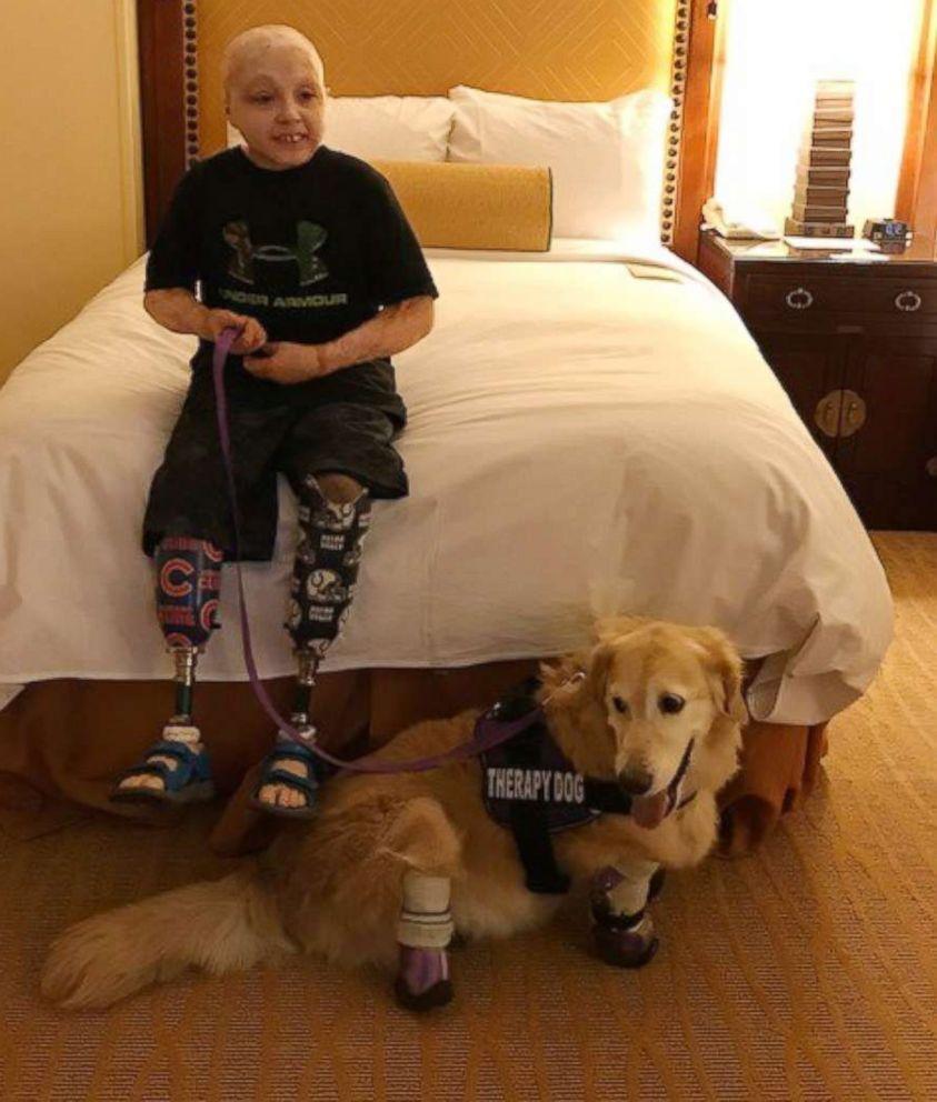 PHOTO: Owen Mahan, 10, meets Chi Chi, a quadruple amputee dog.