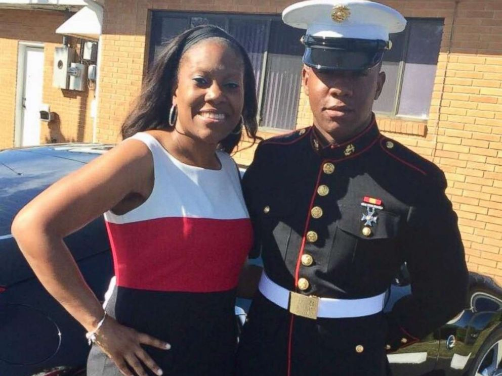 PHOTO: Rekita Lee of Jacksonville, Florida, poses with her son, TreVaughn Lee, a Marine.