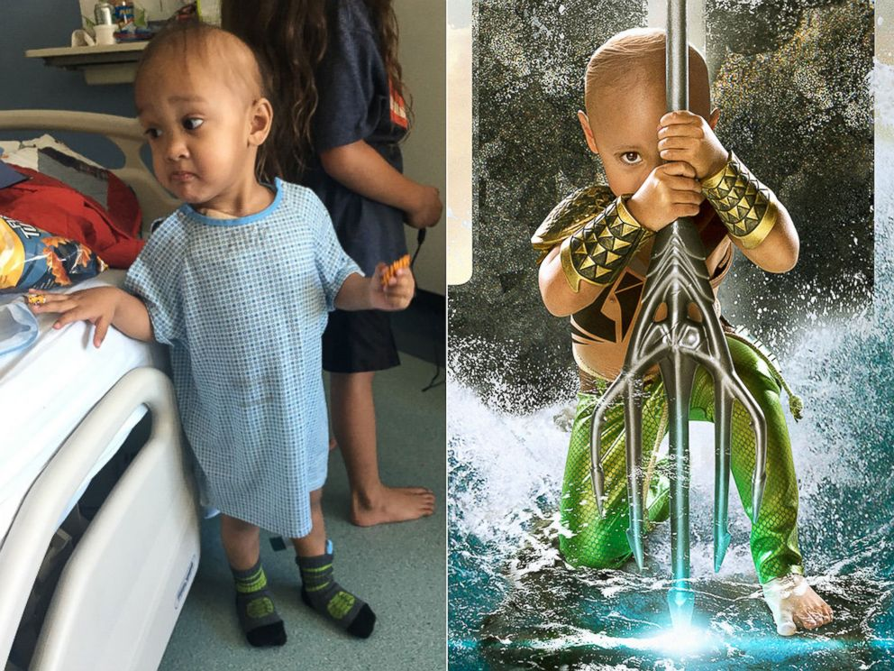 PHOTO: Mataese Manuma has a rare form of cancer called acute megakaryoblastic leukemia. | Mataese Manuma as Aquaman.