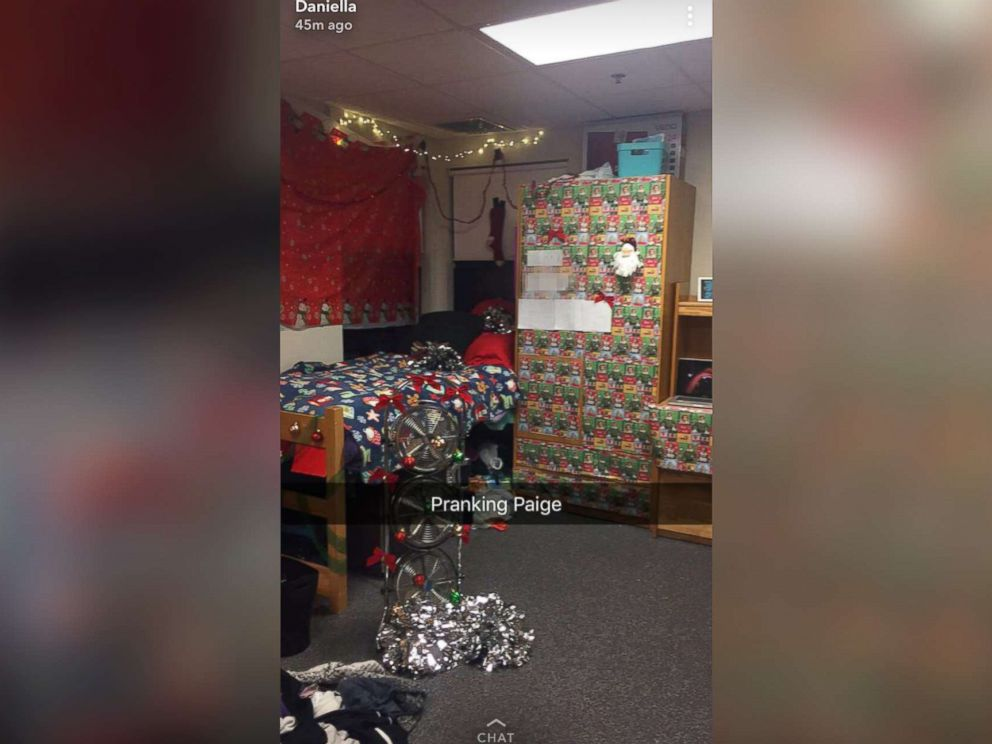 PHOTO: Paige Benoits college roommate Daniella Pitruzzello pranked her by decking the halls with over-the-top Christmas decorations before Thanksgiving.