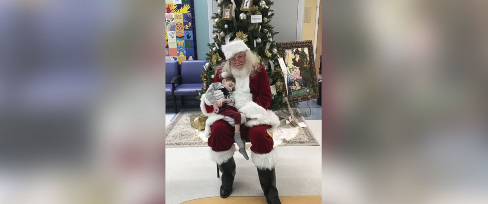 PHOTO: Miles Agnew visits with Santa at Primary Childrens Hospital.