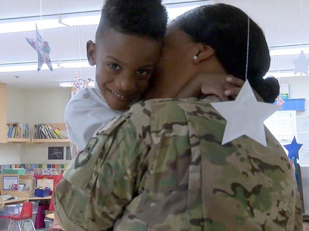 PHOTO: Shania Porter embraces her son Blake, 4, at Primrose School of Palm Valley in in Goodyear, Arizona on August 7.