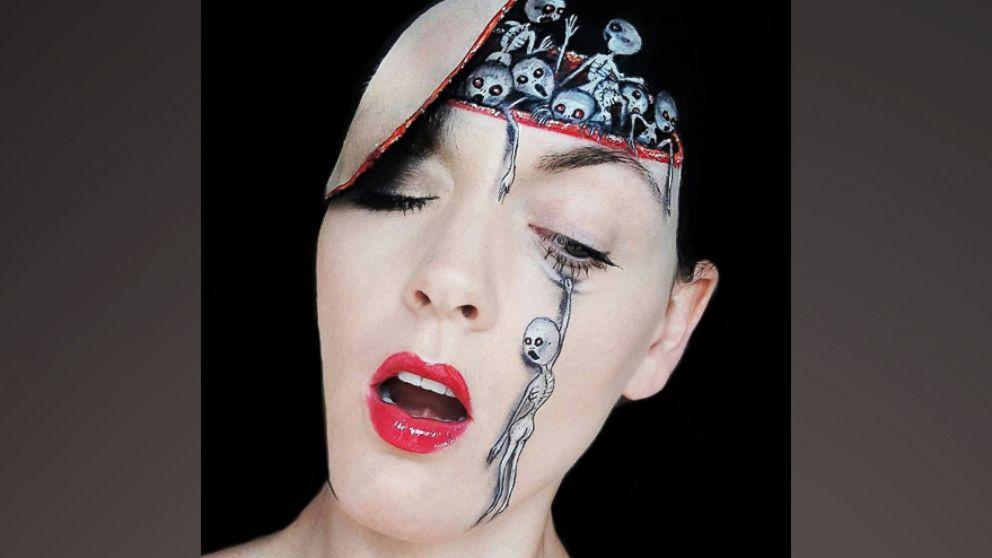Makeup artist turns herself into horrifying monsters
