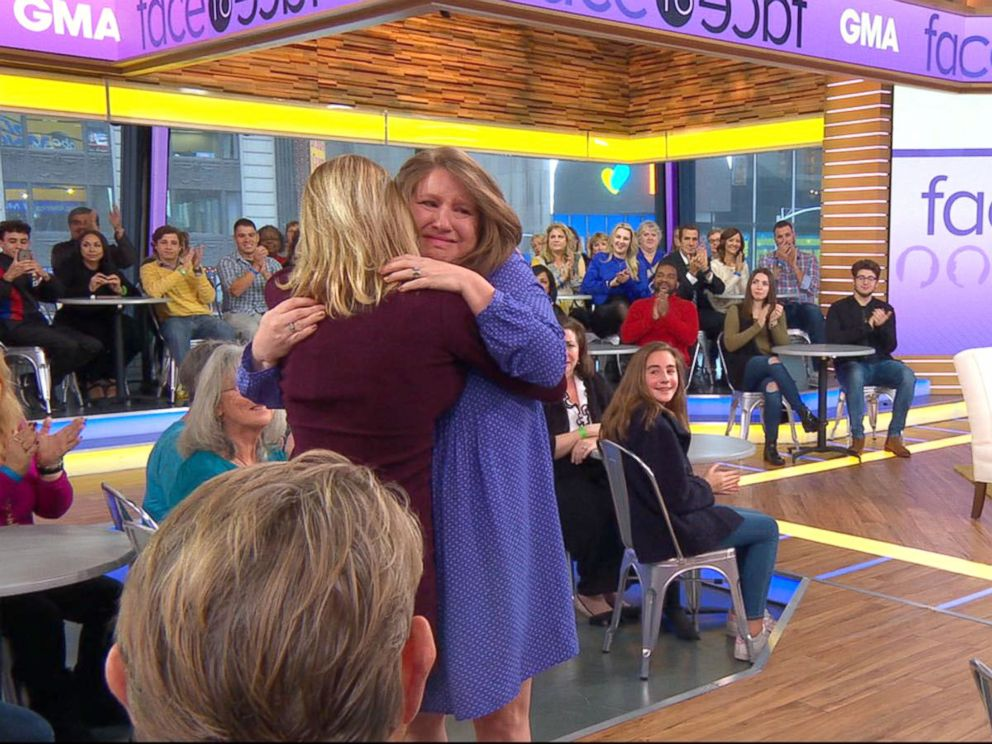 PHOTO: Angie Oracoy met her daughter, Meribeth Blackwell, in person for the first time live on GMA today after giving her baby up for adoption more than 30 years ago.