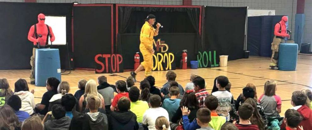 "PHOTO: The Mustang Fire Department in Oklahoma has captured the hearts of the internet by making ""stop, drop and roll"" the most exciting thing these students have ever seen."