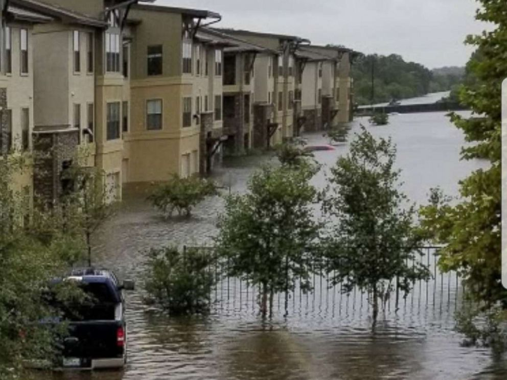 PHOTO: Myrna Orozcos neighborhood is flooded in an undated photo taken after Hurricane Harvey impacted Texas in August 2017.