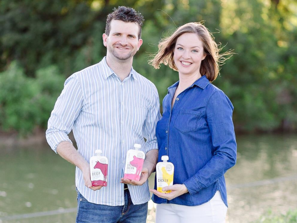 PHOTO: Joe Carr and Serenity Heegel, of Austin, Texas, founded the Serenity Kids line of baby food.