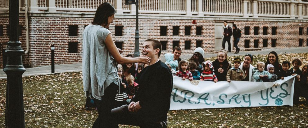 PHOTO: Dallin Knecht proposed to preschool teacher Sara Trigero with the help of her beloved students on Nov. 3 in Reno, Nevada.