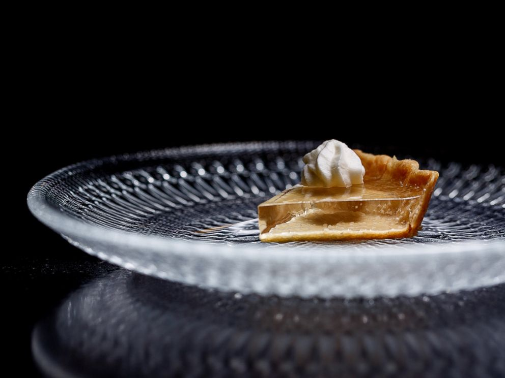 PHOTO: This translucent pumpkin pie was created for the fall menu at Alinea in Chicago.