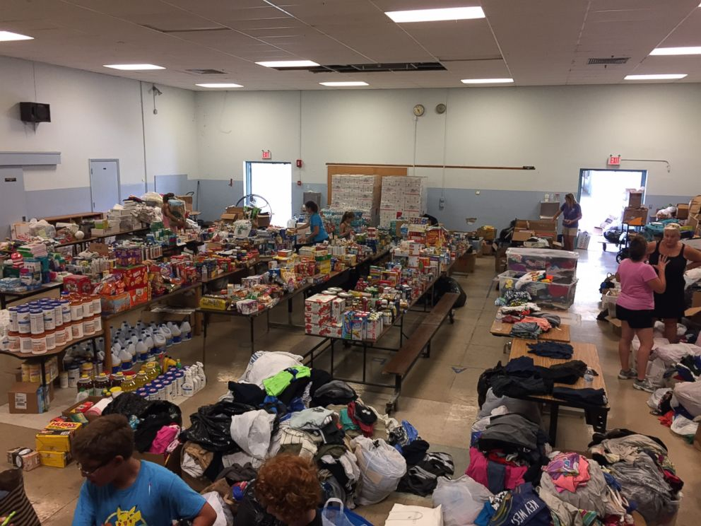 PHOTO: Sugarloaf School turned the cafeteria into a distribution center for much-needed supplies.