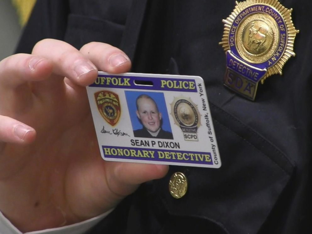 PHOTO: Sean Dixon worked with the evidence, homicide and k-9 units and received his own identification card during his role as detective for a day for the Suffolk County Police Department at their headquarters in Yaphank, New York.