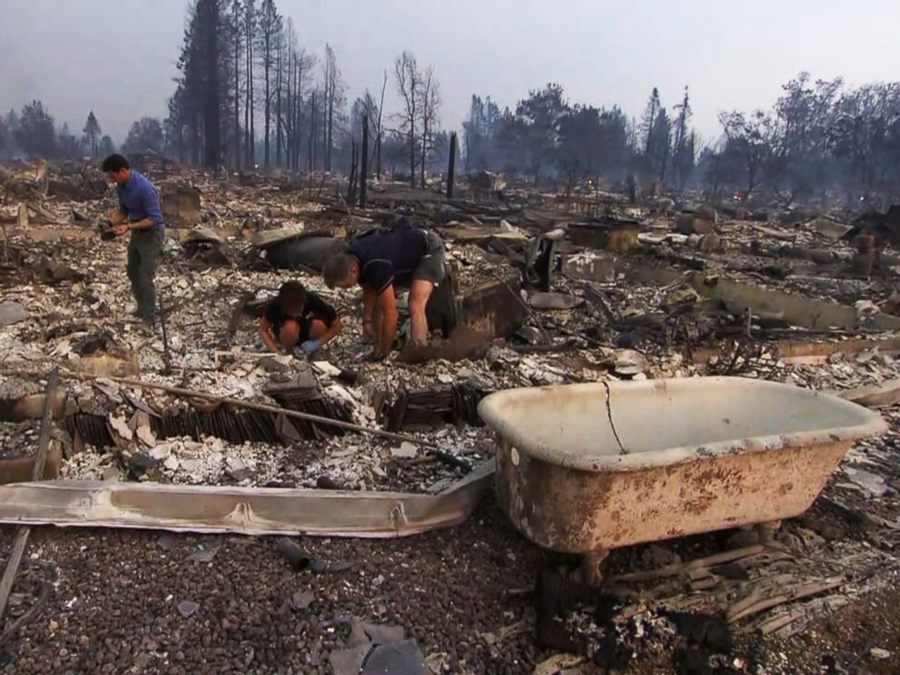 PHOTO: Kris Pond spent hours on Oct. 10, 2017 searching for her wedding ring in the debris of her home burned down by the northern California wildfires.