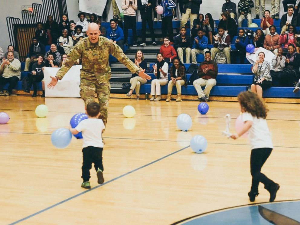 PHOTO: Army Specialist Seth Howard surprised his twins, Riley and Liam Howard at their school, Gahanna Christian Academy.