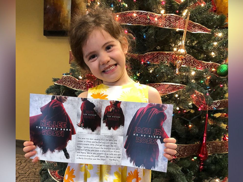PHOTO: Josh Rossis daughter, Nellee, 4, proudly holds her familys Star Wars-themed Christmas card.