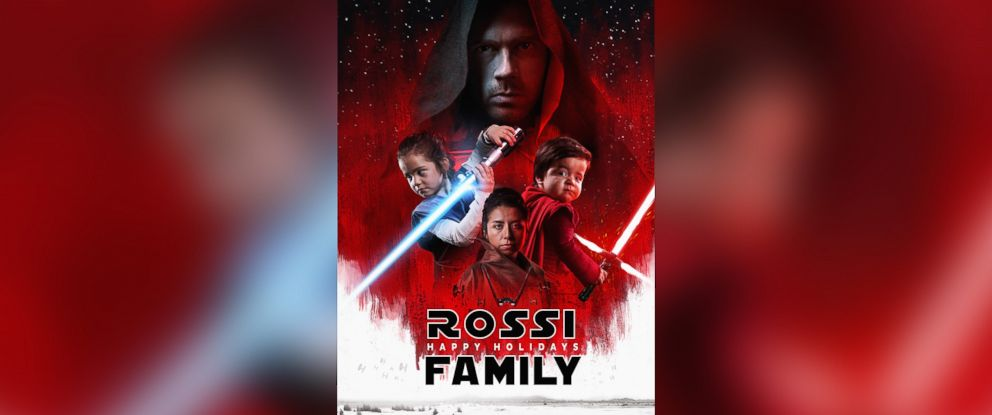 "PHOTO: Photographer Josh Rossi of Salt Lake City re-created ""The Last Jedi"" movie posters with his wife and two children."