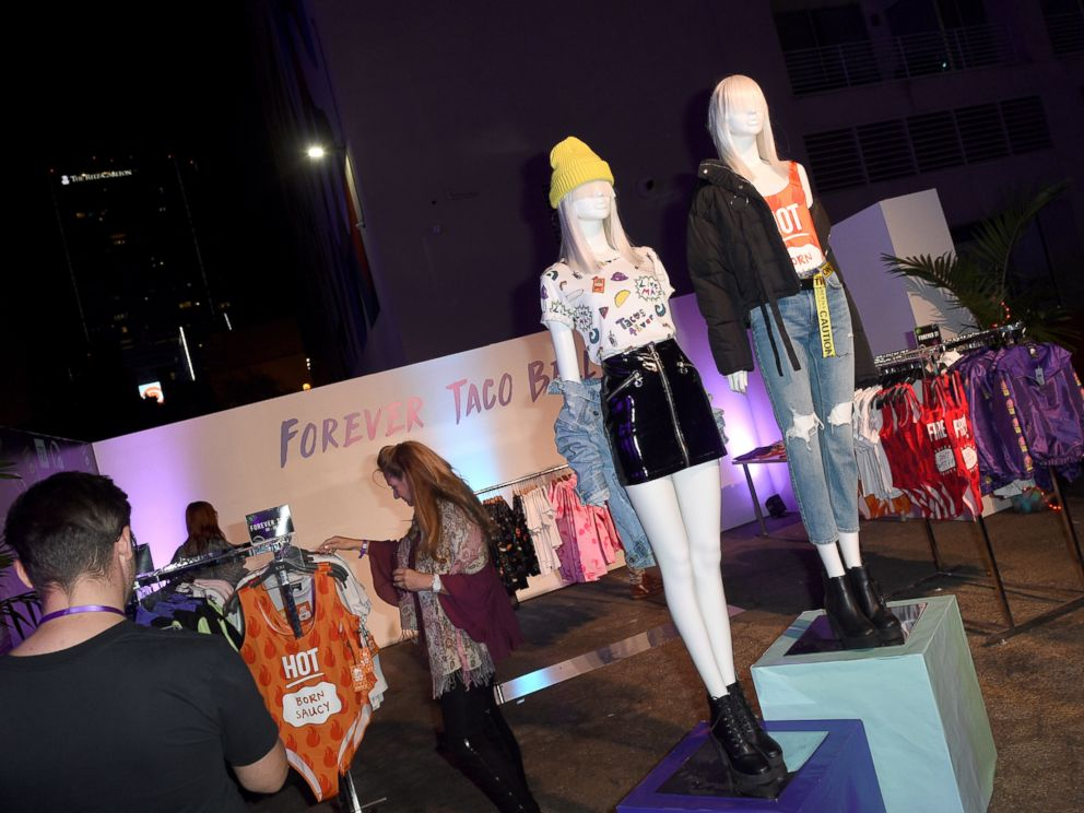 PHOTO: A Taco Bell pop up shop is seen at the fashion event in Los Angeles.