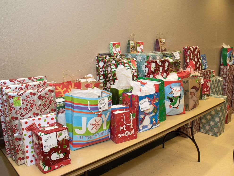 PHOTO: Presents lined up on the table for children to receive for Christmas at the charity event Carolynn Smith hosted two years ago in Tampa.
