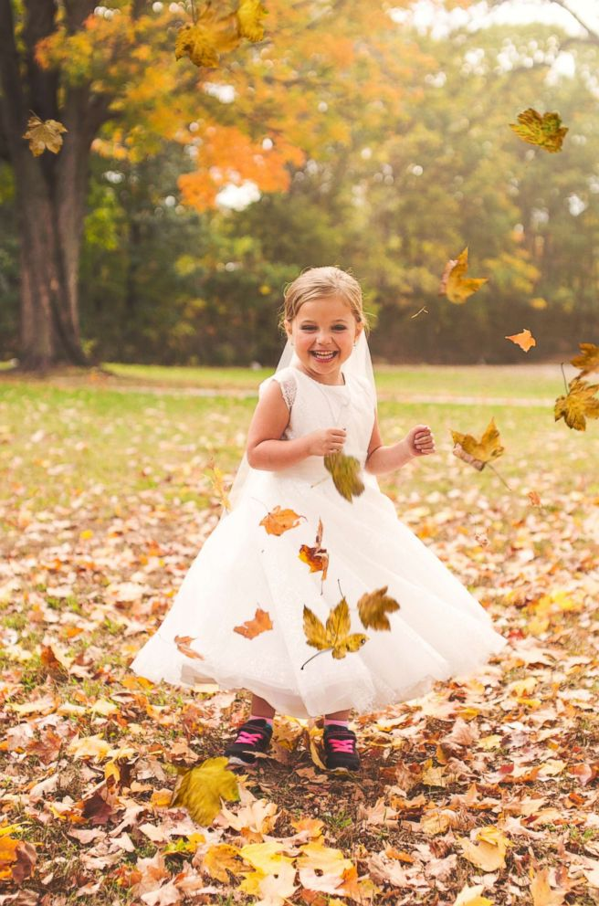 PHOTO: Sophia Chiappalone, 5, during her faux wedding photo shoot on Oct. 23, 2017 inside City Park in Meriden, Conn.