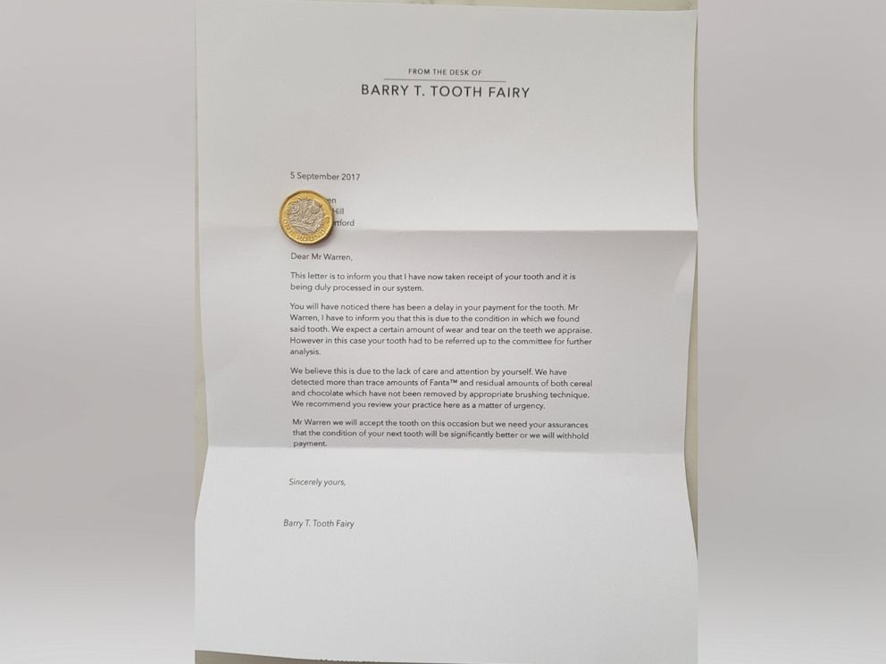 PHOTO: British couple Henry and Emma Warren gave this letter written by Barry T. Tooth Fairy to their 8-year-old son, Sam.