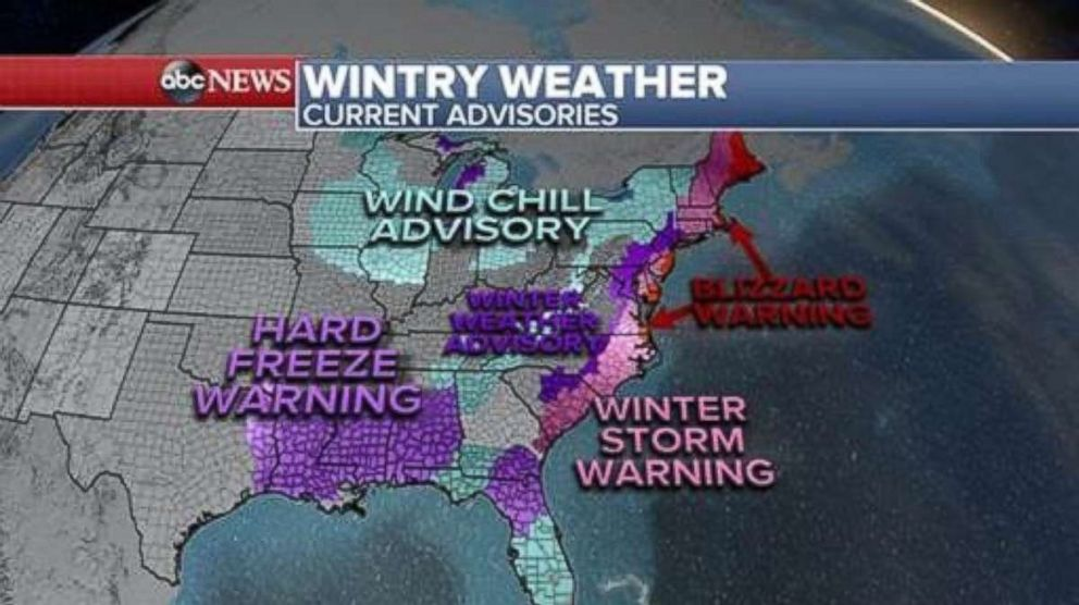 PHOTO: Over 30 states are under winter alerts, Jan. 3, 2018, for the cold and snow as the eastern half of the country remains under a deep freeze from Texas to Florida and all the way up to Maine.