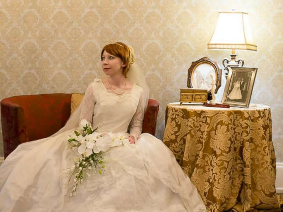 PHOTO: Colleen Dejno, 33, of St. Paul, Minnesota, poses in the wedding gown worn in 1967 her mother-in-law.