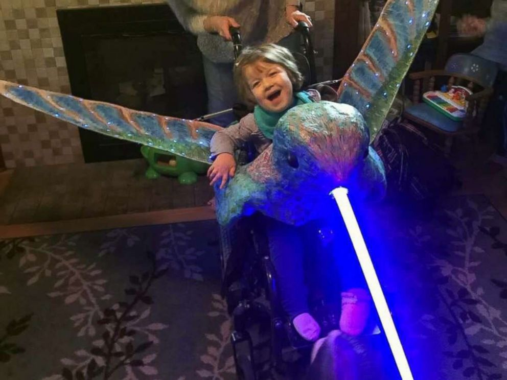 PHOTO: Mattea Haigh, 5, of Portland, Ore., was surprised by her light-up hummingbird costume.