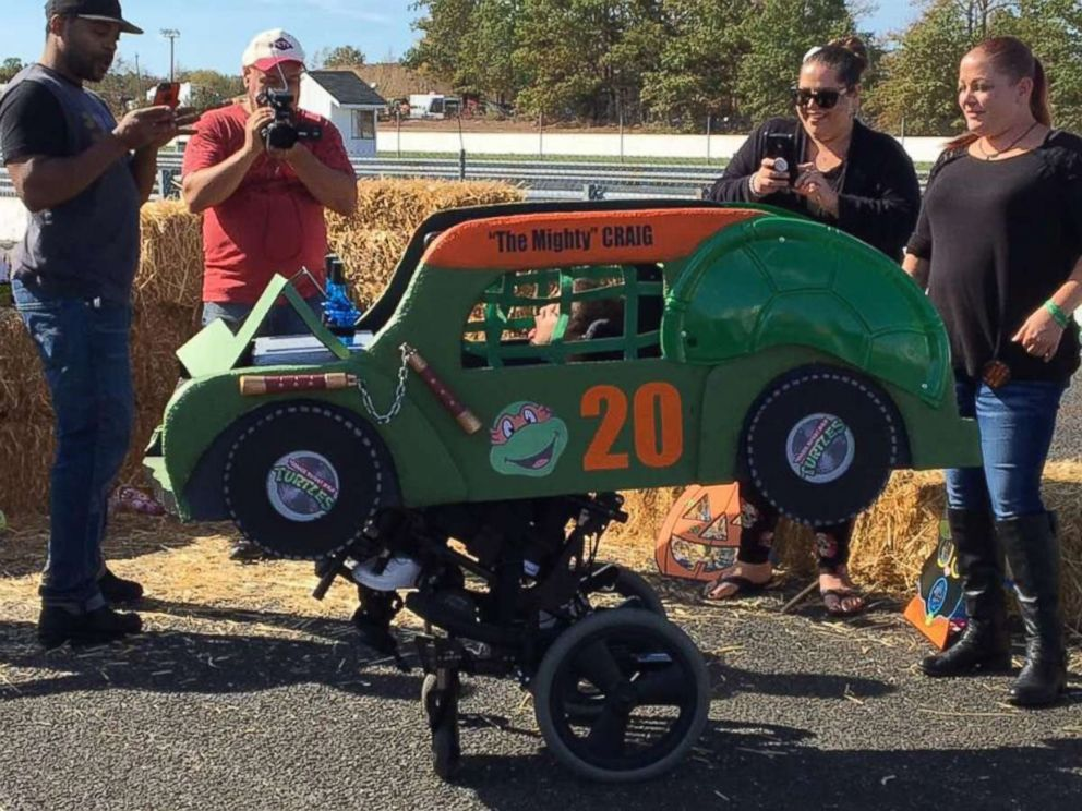 PHOTO: Craig Denton III, 6, of Toms River, N.J., loves to ram things with his wheelchair, so his family said a demolition derby car is perfect.
