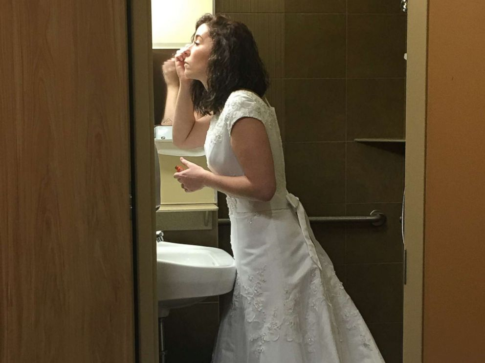 PHOTO: Whitney Romans gets ready for her wedding at St. Lukes Magic Valley Medical Center in Twin Falls, Idaho.