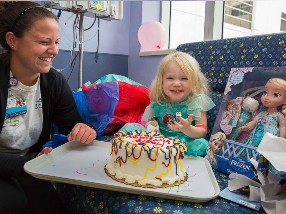PHOTO: Willow Stine was diagnosed with leukemia on Sept. 8, 2017, just two days before her third birthday. Staff at John Hopkins All Childrens Hospital in St. Petersburg, Fla., threw a birthday party for her on Sunday as Hurricane Irma hit the state.