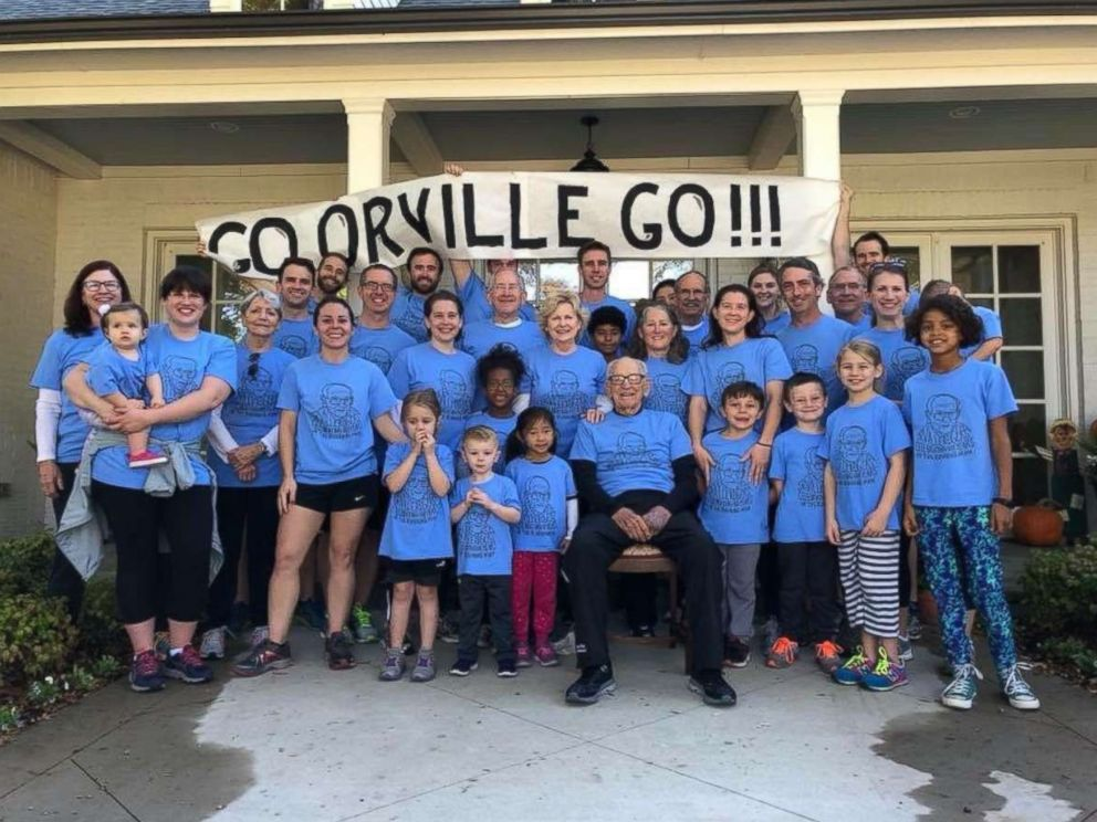 PHOTO: WWII veteran Orville Rogers celebrated his 100th birthday by running with his family in Dallas, Texas.