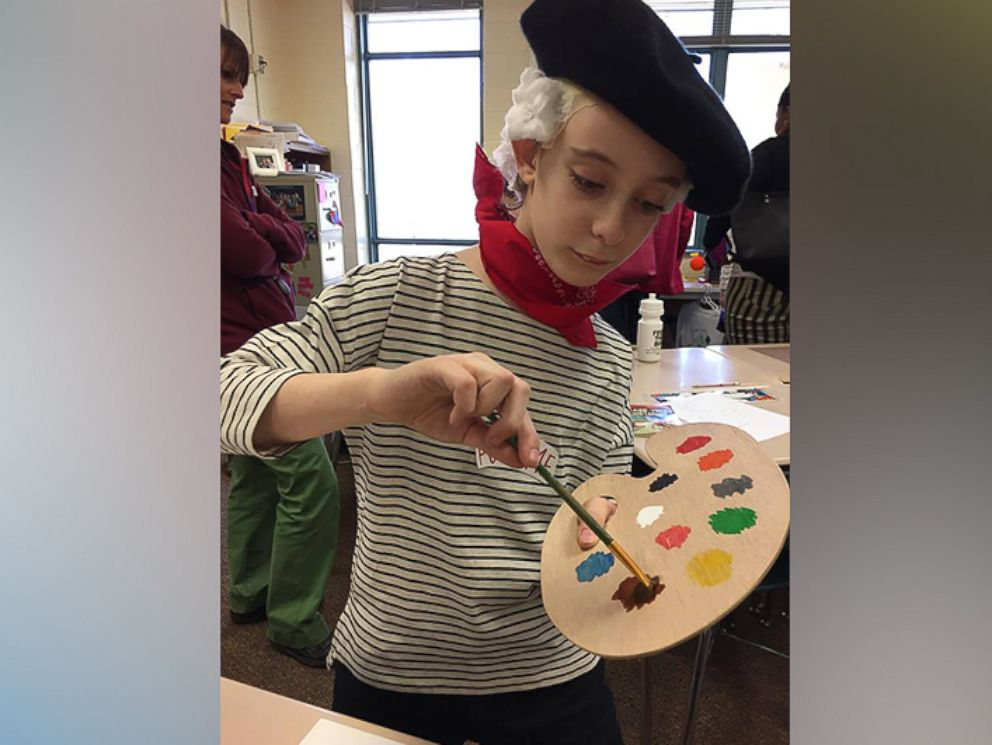 PHOTO: Geroge Yionoulis, 9, practicing his painting in class.