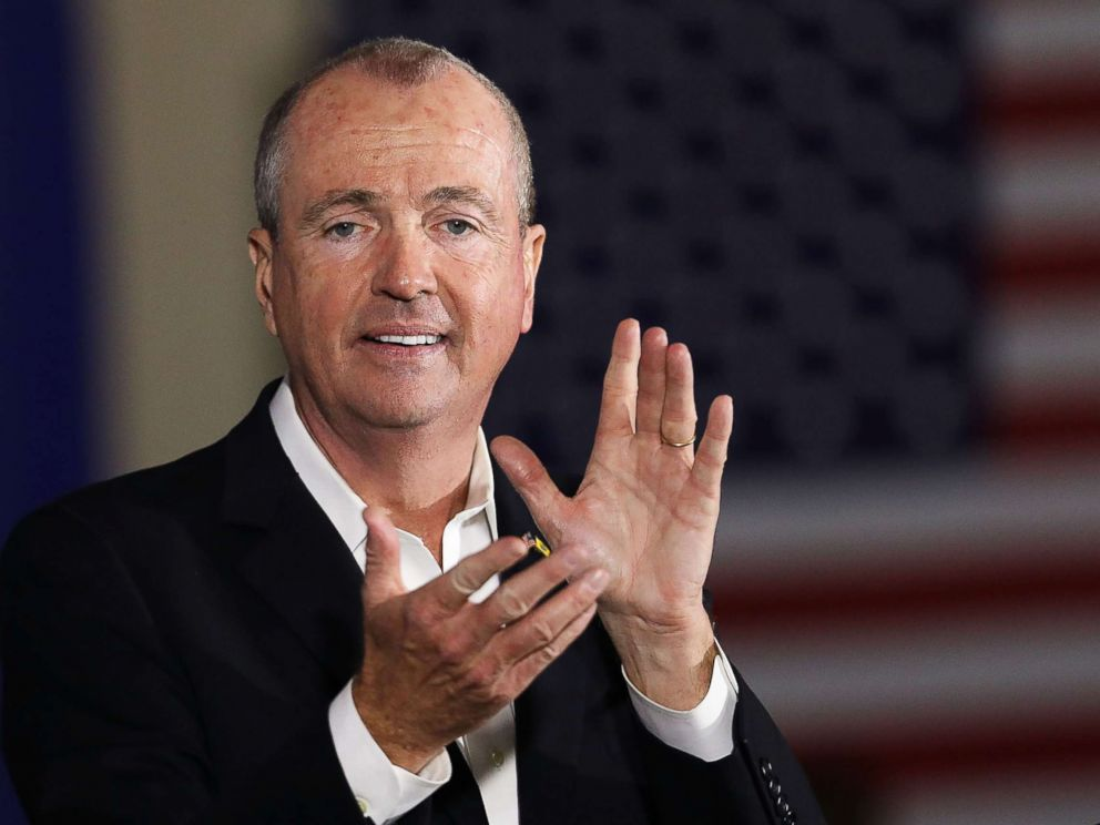 PHOTO: Democratic candidate Phil Murphy, who is running against Republican Lt. Gov. Kim Guadagno for the governor of New Jersey, speaks at a rally on Oct. 19, 2017, in Newark, N.J.