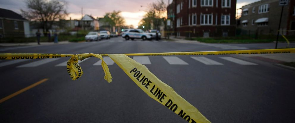 PHOTO: Chicago Police crime tape is displayed at a crime scene, April 25, 2016 in Chicago.