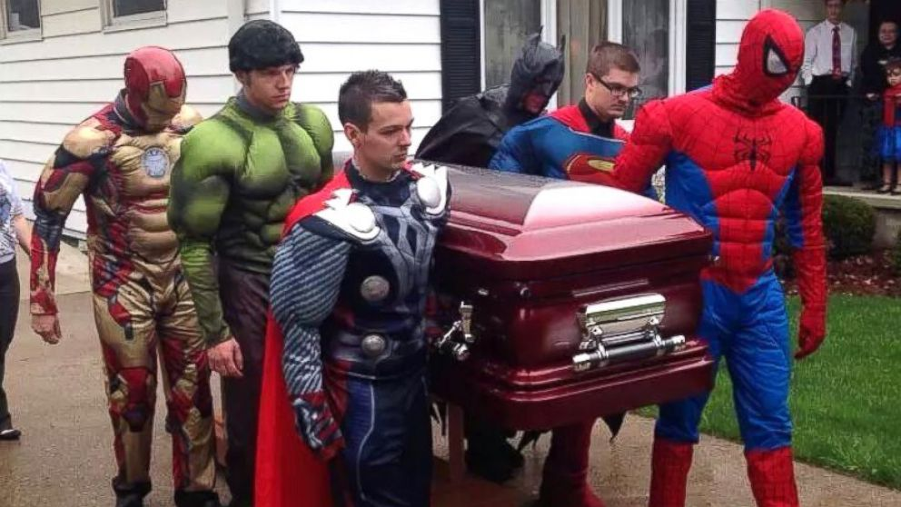PHOTO: Brayden Dentons superhero funeral.