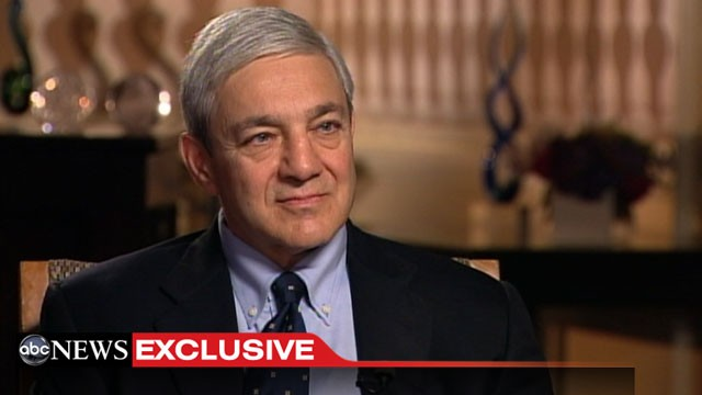 PHOTO: ABCs Josh Elliot sits down with Graham Spanier, ex-pres of Penn Sate, Aug. 22, 2012.