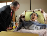 PHOTO: Jiroemon Kimura, right, is greeted by Kyotango City Mayor Yasushi Nakayama as he celebrates his 116th birthday at his home, April 19, 2013, in Kyotango, Kyoto, Japan.