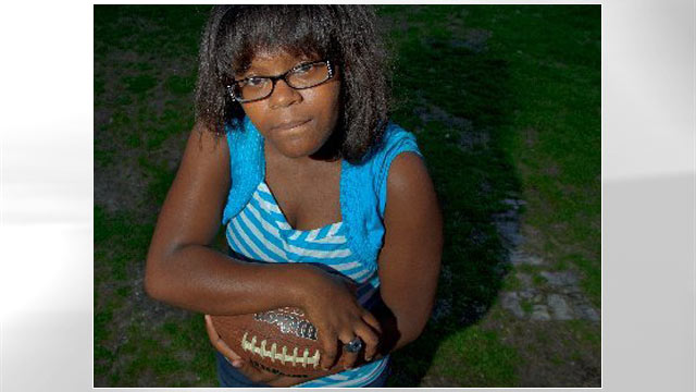"PHOTO: 11-year-old Kayla Johnson made waves this year as a right guard whose punishing blocking style earned her the nickname ""Icebox"" and disabused anyone in her path of the idea that g"