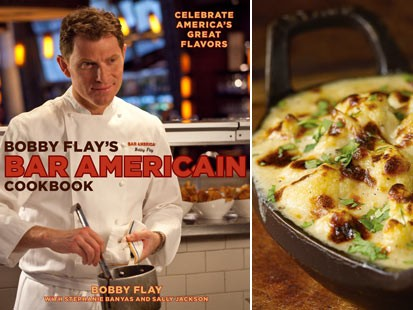 "PHOTO: ""Bobby Flays Bar Americain Cookbook"" is shown."