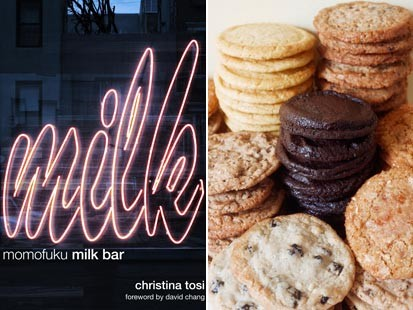 'Momofuku Milk Bar' cookbook and cookies by Christina Tosi.