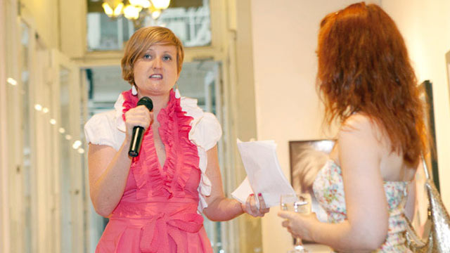 "PHOTO: ""Hollaback"" co-founder Emily May rallies anti-street harassment activists at a fundraiser in New York City."