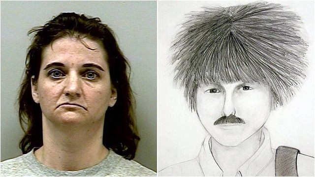 PHOTO: Left, Joanna Hayes. Right, composite sketch of killer of Heather Strube