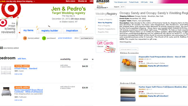 PHOTO: Registries such as the one created by Ashley Diamond, left, have been set up for victims of Sandy. Right, Occupy Sandys Amazon registry.