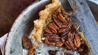 PHOTO: Melissa Clark's spiced maple pecan pie with star anise.