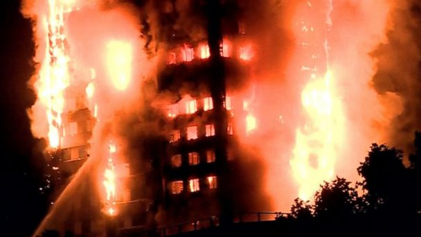 VIDEO:  Massive London high-rise fire leaves at least 12 dead
