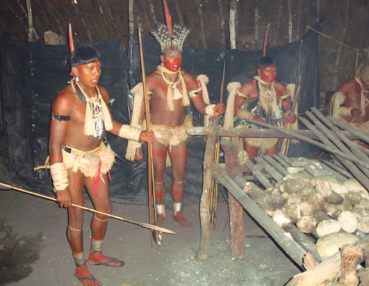 Male members of the Enawene Nawe, inside a hut, engaged in a ritual.