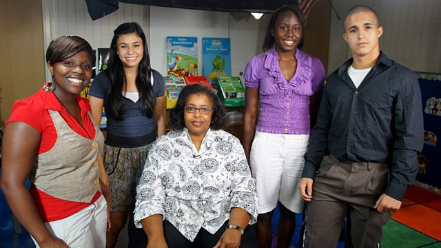 PHOTO:&nbsp;Teacher Sandra Key Daniels, middle, and her former students, from left to right, Natalia Jone-Pinkney, Chantal Guerrero, Mariah Williams and Lazaro Dubrocq.