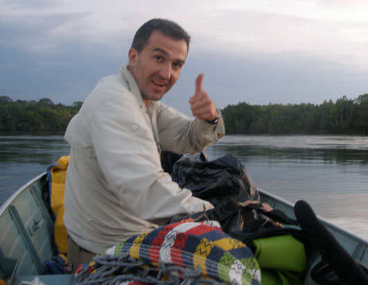 Karamehmedovic gives thumbs-up before taking nap in the boat.