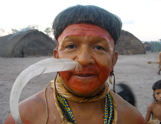 An Enawene Nawe tribal elder, during a sacred ceremony.