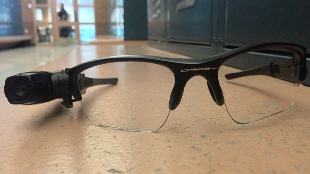 PHOTO: The Axon camera, made by Taser, is roughly the size of a cigarette lighter and can be mounted to a pair of glasses.