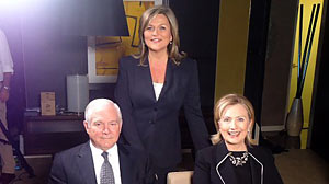 "Photo: ""Nightline"" anchor Cynthia McFadden joins Secretary of State Hillary Clinton and Secretary of Defense Robert Gates in Melbourne"